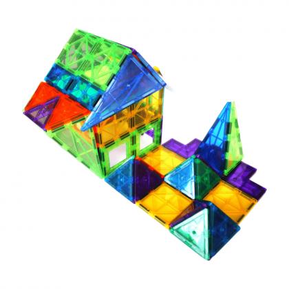 WonderMags 60 - 3D Magnetic Tiles Building Block STEM Toy - Box of 60 Tiles